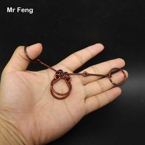 3 Joint Magic Ring Puzzle Collection Red Copper Classic IQ Metal Wire Brain Teaser Toy ( Model Number H305 )