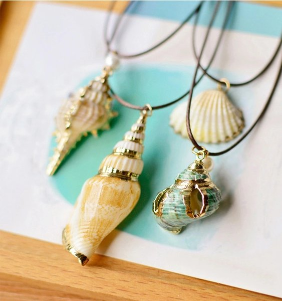 Natural Style Seashell Geometric Shape Shell Travel Commemorative Women Jewelry Chokers Necklaces & Cowrie Shells Pendants Necklace