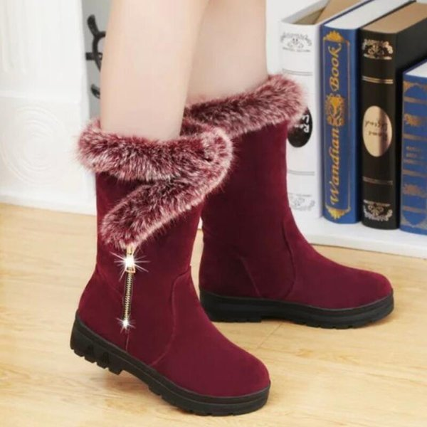 Womens Ladies Autumn Winter Boots Mid Calf Fashion Warm Snow Boots Cowboy Shoes