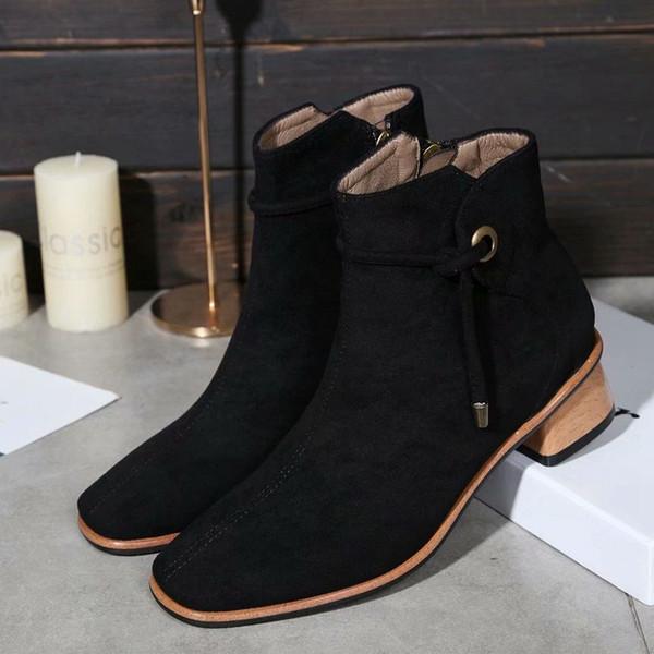 Nuevo gamuza marrón negro grueso con botines botines de gran nombre internacional diseñador de moda femenina fiesta de trabajo botas de mujer 35-39