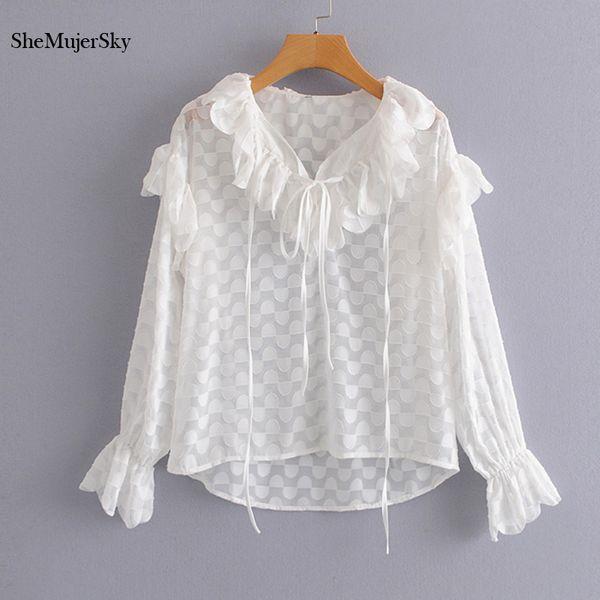 cb71600208e376 SheMujerSky White Chiffon Blouse Ruffles V-neck Shirts Long Sleeve Women  Tops 2019 Womens Clothing