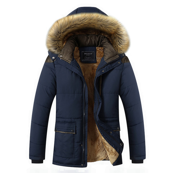 M-5xl Fur Collar Hooded Men Winter Jacket 2019 New Fashion Warm Wool Liner Man Jacket And Coat Windproof Male Parkas Casaco T2190612