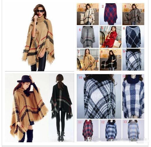 alta qualità Autunno Inverno donna grandi ragazze classico plaid mantello collo alto scialle di pashmina Poncho moda sciolto plaid Bat scialle avvolge 2019