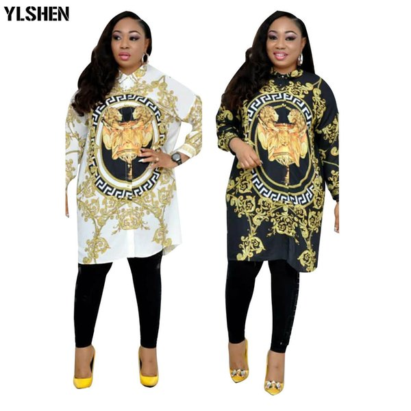 best selling African Dresses for Women Dashiki Print African Clothes Bazin Broder Riche Plus Size Women Sexy Shirt Dress Robe Femme Africaine