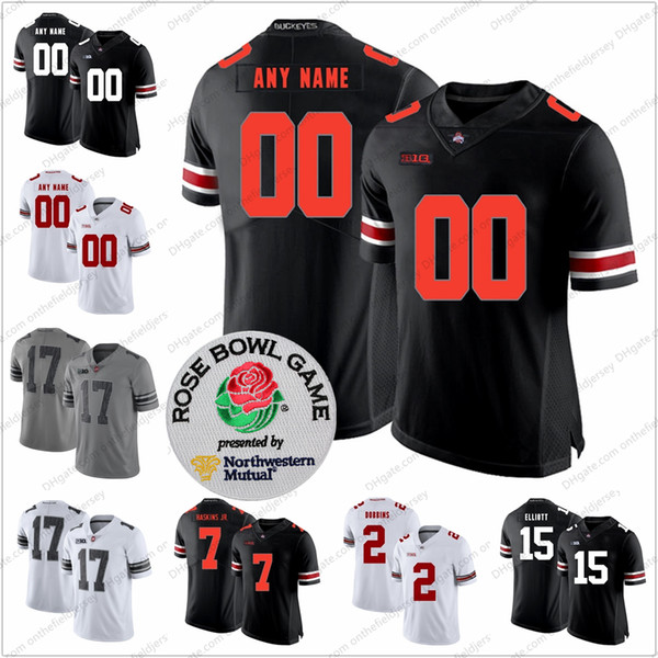 Custom Ohio State Buckeyes Football Jersey Any Name Number #1 Jeffrey Okudah 14 Hill Jr. 17 Chris Olave 18 Tate Martell Rose Bowl S-3XL