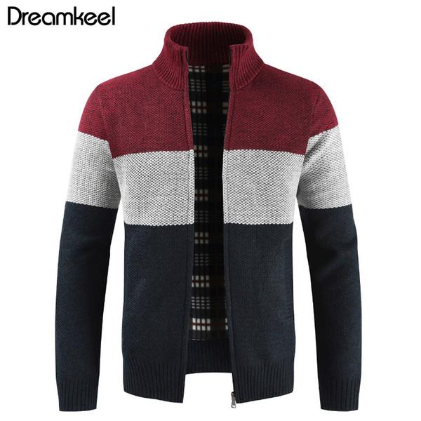 Brand Clothing Thicken Winter Sweater Men Pattern Striped Zipper Warm Outwear Jacket Wool Liner Cardigan Ropa De Hombre 2019 Y1