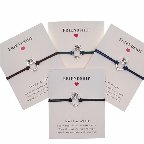 New Silver Owl Charm Bracelet Adjustable Friendship Statement Bracelet For Women Men With Card Best Infinity Bracelet Wholesale