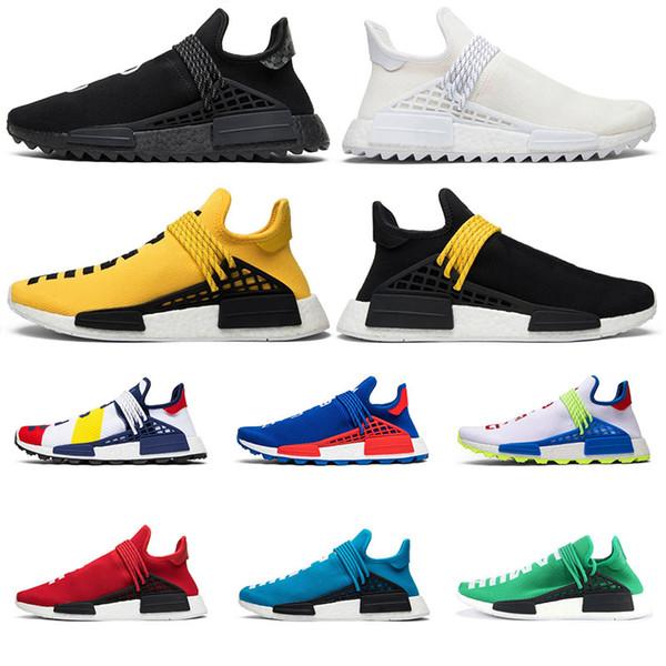 Adidas NMD Human Race NMD Chaussures de course Pharrell Williams Hu trail Oreo Nobel encre Noir Nerd Designer Sneakers Hommes Femmes Chaussures de Sport