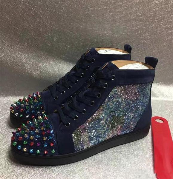 Hediye Spike tercih Yüksek Üst Kırmızı Alt Çivili Sneakers Ayakkabı Kadınlar, erkekler Lüks Tasarımcı Düz Rahat Kırmızı Tek Açık Eğitmenler 35-46