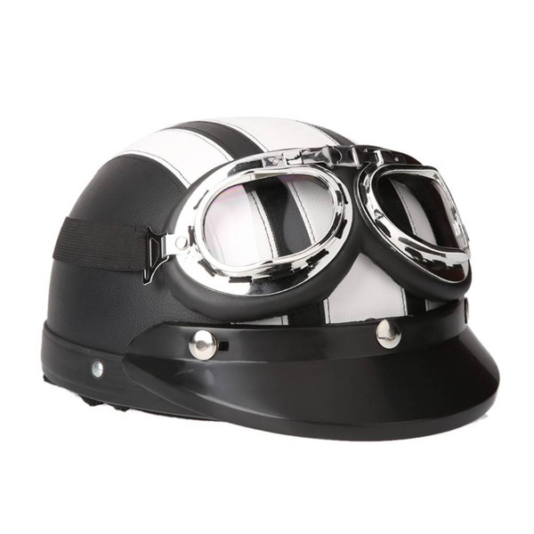 Motorcycle Scooter Open Face Half Leather Helmet with Visor UV Goggles Retro Vintage Half Open Face DOT Approved Motorcycle Helmet