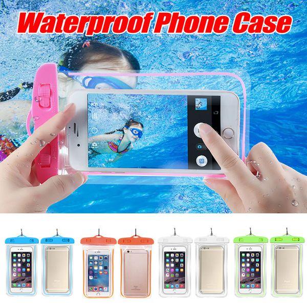 PVC Mühürlü Su Geçirmez Çanta Telefon Kılıfı Çanta Kılıfı Aydınlık Telefon Kılıfı Su Geçirmez Kılıf iphone 7 Artı Samsung Galaxy
