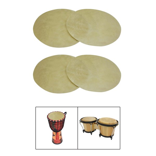 best selling 4 Pieces 9\'\' Buffalo Leather Drum Skins, Exquisite and Practical, It\'s a Good Gift for Music Lover and Friends