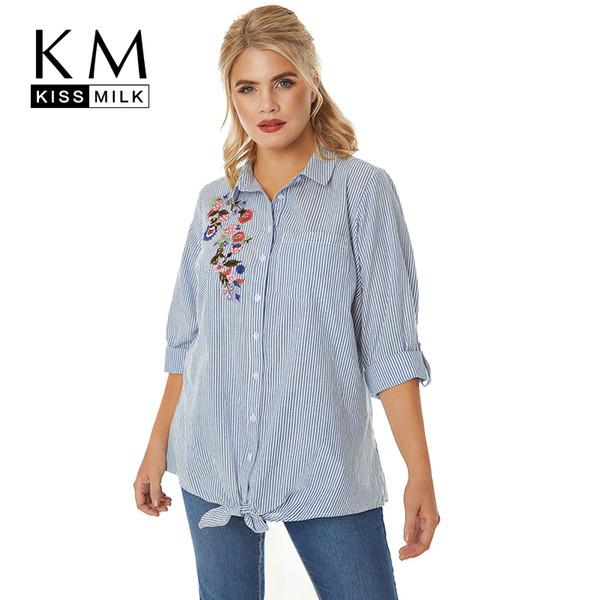 Kissmilk Plus Size Abbigliamento Donna Camicia a righe blu Camicia a fiori a maniche lunghe in misto ricamato a maniche lunghe Y19062601