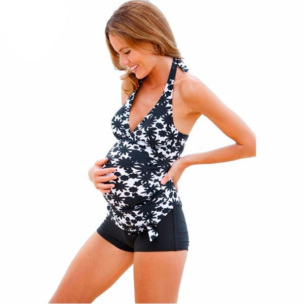 Fashion Women Two -Piece Swimsuit Pregnancy Maternity Tankinis Set Plus Size Swimwear Halter Print Bathing Swimming Suits 5 Size