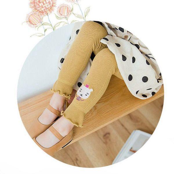 Cotton Warm Leggings Kids Baby Girl Cute Animal Embroidery Toddler Baby Girls Pants Fashion Design Stretchy Leggings
