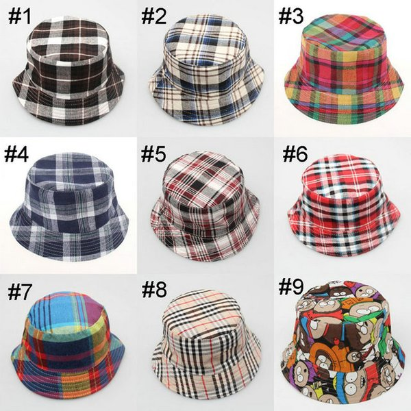 mix 18 colors Korean children plaid sunhat fisherman hat Sunshine casual designer caps kids cotton beach bucket hat baby hats fitted hat