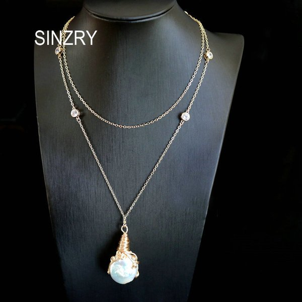 Sinzry Unique Design Handmade Natural Freshwater Pearl Baroque Long Chain Pendant Necklaces For Women SH190721