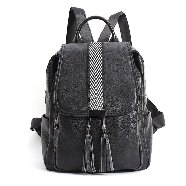 Leather Female Head Layer Leather Personality Trend Multi-function Fashion Backpack Female Vertical Women's Travel Backpack Bag