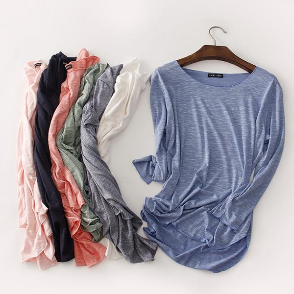100% Cotton Tee Shirt Femme 2019 Harajuku Long Sleeve T Shirt Women Tops Fashion Work Blusa Loose T-shirt Camiseta Mujer 1414 Q190425