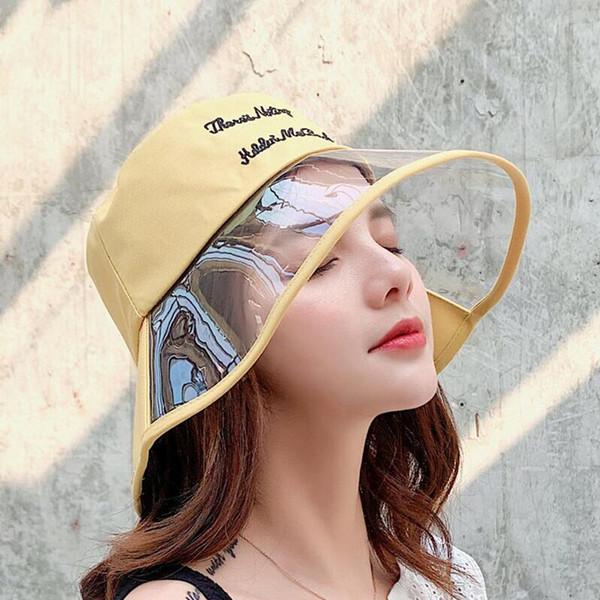 SUOGRY Transparente Eimer Hut Frauen Mode Sommer Hüte Für Frauen Damen Angeln Hut Flat Top Sun Weibliche 2019 New Panama Cap