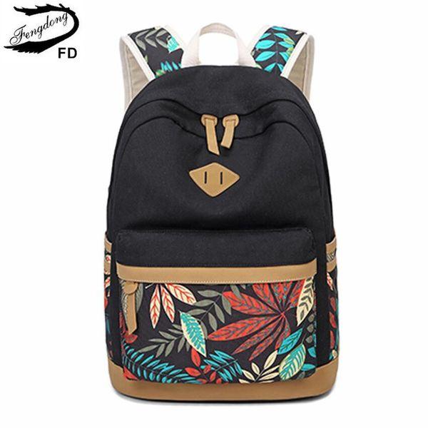 Fengdong Vintage Leaf Print Canvas School Backpack For Children School Bags For Girls Child Book Bag Women Laptop Backpack 14 J190522