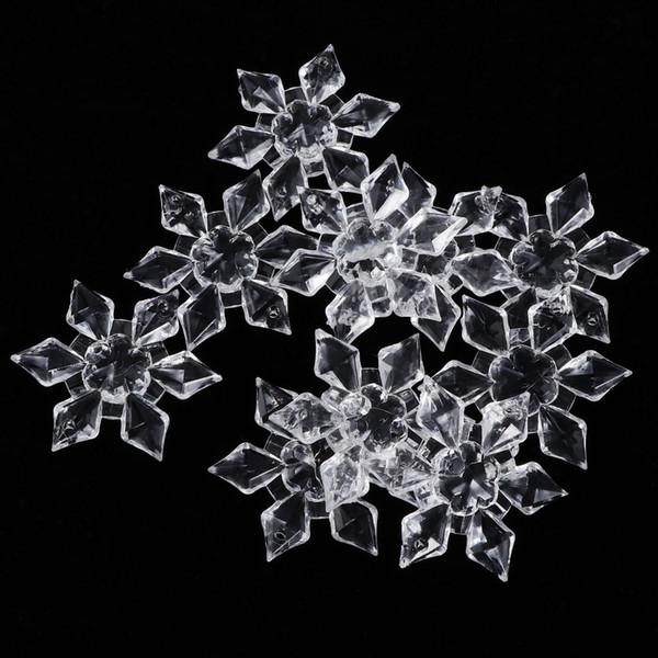 10 Pcs Limpar Acrílico Cristal Floco De Neve Botões De Costura Decoração De Mesa De Casamento Acrílico Talão Cortina Lâmpada Pingente