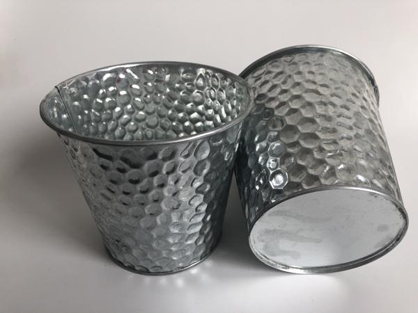 D13XH11.5CM Metal Planter Container pot Silvery Flower Tub Metal Bucket metal Tub tall vase Shop Decoration