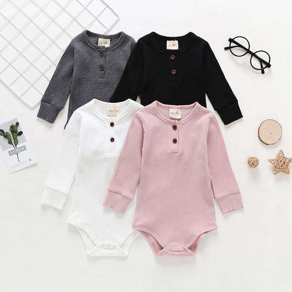 Твердые Хлопок Rompers Комбинезоны Для Девочки Мальчики Одежда Серый Черный Розовый Белый Четыре цвета трико с длинным рукавом Комбинезоны Kid Одежда 0-18M