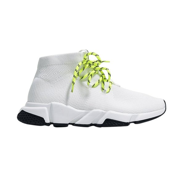 2019 men women designer socks shoes speed trainer lace up mid top black white yellow fashion men trainers casual platform sneakers R06