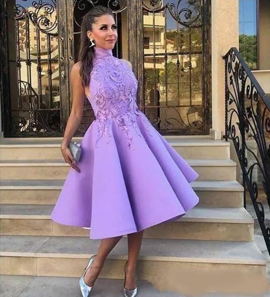 2019 Light Purple High Neck Sleeveless Tea Length Cocktail Party Dresses A Line Satin Lace Applique Prom graduation Homecoming short dresses