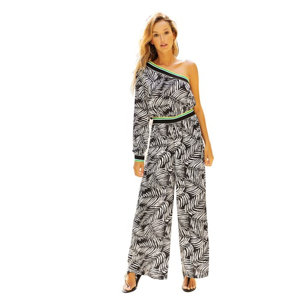 New Summer Striped Women Jumpsuit Casual Long Rompers Womens Jumpsui Printed Off Shoulder Jumpsuit Sexy Elegant Jumpsuits Womens
