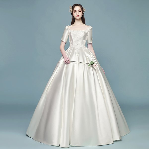 A word shoulder great neat, satin bridal dress new code show thin