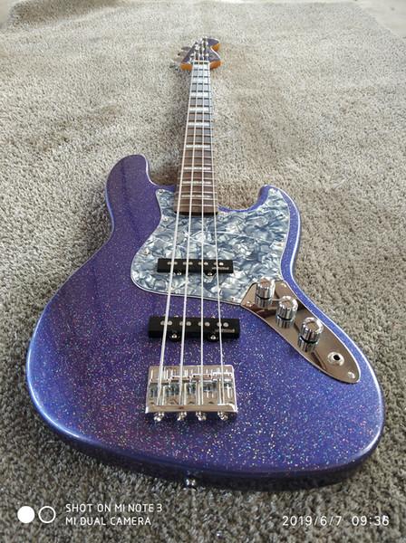 Personalizado Geddy Lee Assinatura JazzBass 4 cordas jazz guitarra baixo elétrico, braço de maple e escala de rosewood, embutimento quadrado branco