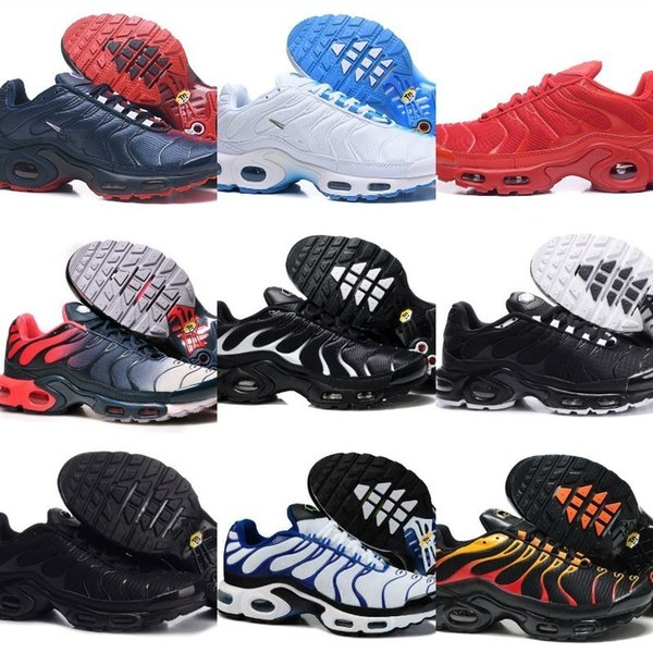 Wholesale 2019 Air Tn Sports Shoes Cheap Men Tn Plus Running Shoes New Design Tn Requin Breathable Mesh Black White Red Walk Sneakers