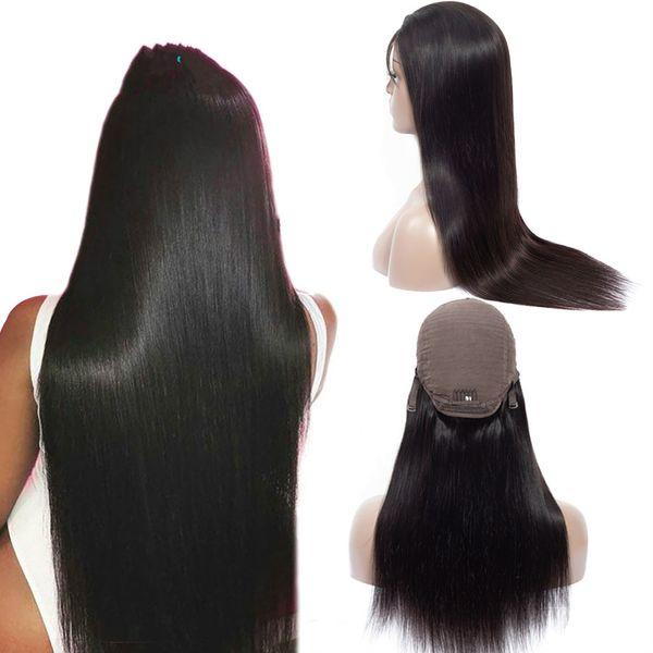 Ashimary Lace Front Perruques de Cheveux Humains Fermeture de 4x4 Lace Wigs Remy Perruques de Cheveux Brésiliens Droite Lace Front Perruque avec des cheveux de bébé
