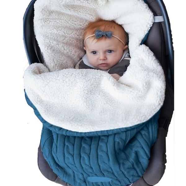 Babydecke Neugeborenen Gestrickte Dicke Baby Swaddle Wrap Umschlag Weichen Kinderwagen Schlafsack Fußsack Winter Warme SchlafsäckeMX190910