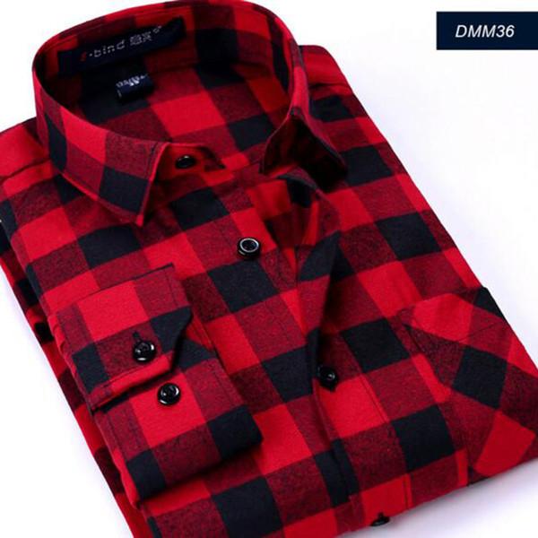 Fashon Men Long Sleeve Camisa Shirts,Plaid Printed Casual England Style Pure Cotton Flannel High Quality Comfortable Shirt Cloth