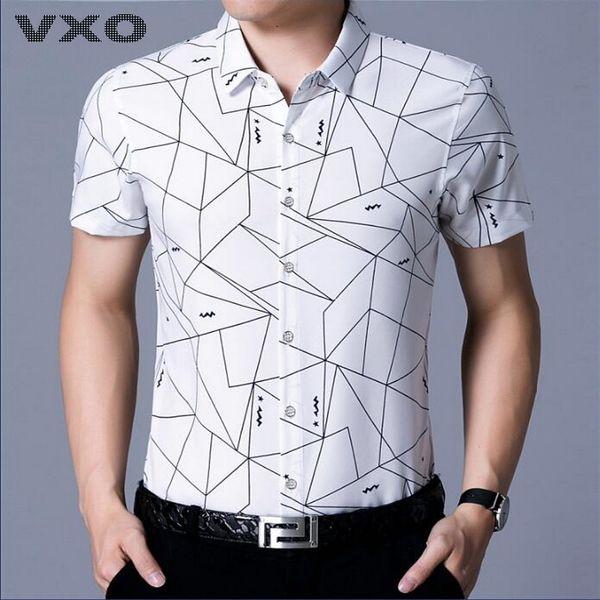 VXO Men Shirt Men Famous Brand Print Shirts Short Sleeve Camisa Masculina Lapel Striped Mercerized Cotton Business Shirt