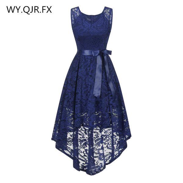 OML529Z#front short long back dark blue Bow Evening Dresses Classmate party dress prom gown wholesale fashion women