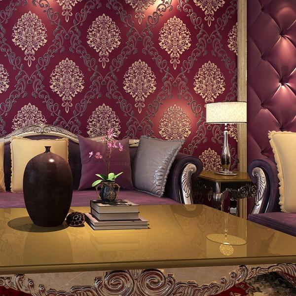 Classique violet de luxe 3D Papier Peint Rouleau Murale Flocage Courbe damassé Non Tissé TV Canapé Fond Papier Peint pour Murs Violet