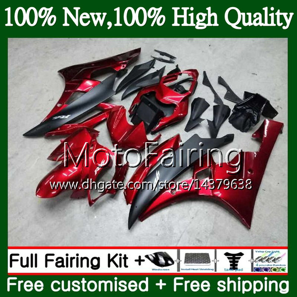 Bodys For YAMAHA YZF R 6 YZF 600 YZF-600 YZFR6 06 07 Dark red black Frame 90MF9 YZF R6 06 07 YZF600 YZF-R6 2006 2007 Fairing Bodywork Kit