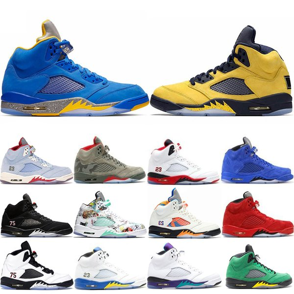 Top Fashion Michigan Inspire Trophy Room 5s Ice Blue Men Basketball Shoes 5 Laney Yellow Bred Red Suede Metallic Black Trainers Sneakers