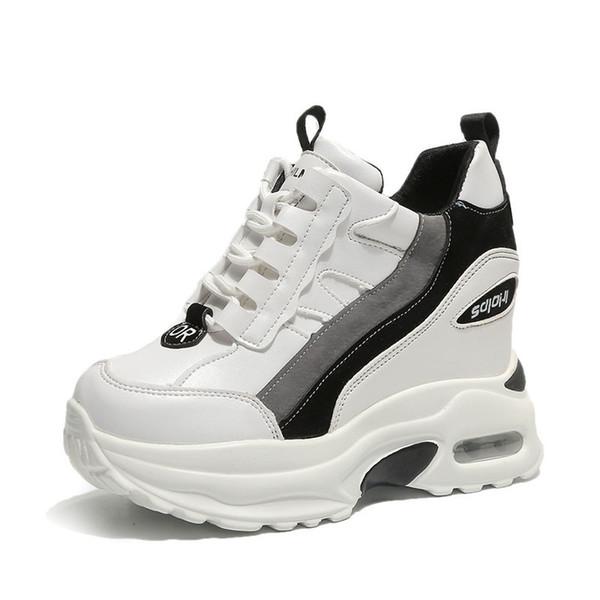 Kadınlar Beyaz Ayakkabı Kadın Kama Platformu Sneakers Zayıflama Tıknaz Eğitmenler Gizli Yükseklik Artırmak 10 CM Kadınlar Nefes Sneakers