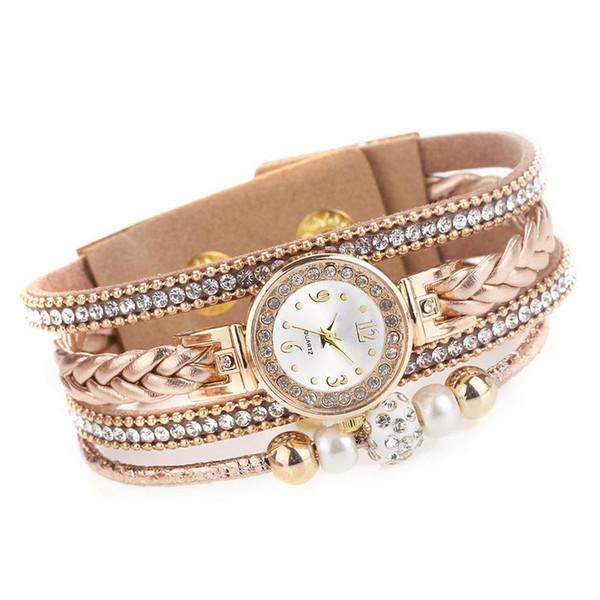 Moda Feminina Círculo Pulseira Relógio Requintado Diamante Pérola Trança Corda Trançada Assista Para O Presente