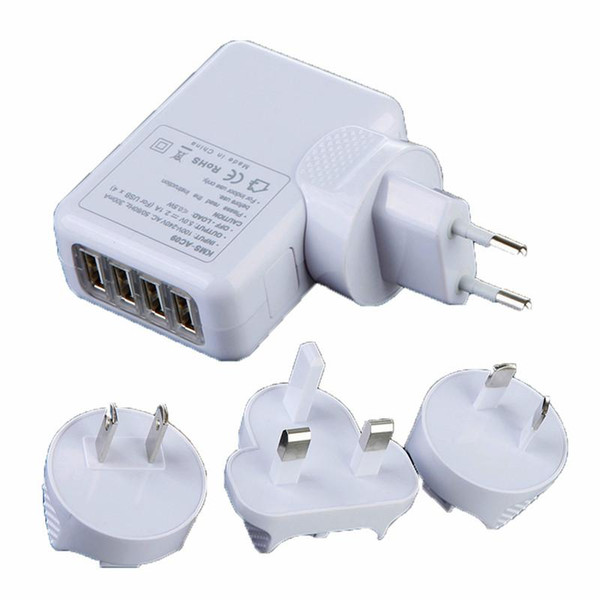 EU AU US UK Plug 4 Port USB Wall Charger 2.1A 10W Portable Travel Charger Power Adapter For Iphone Ipad Samsung HTC
