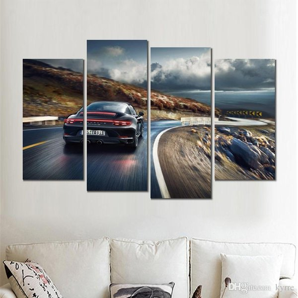 4 sets modern poster porsche targa rotate canvas print printings wall art no frame for decor