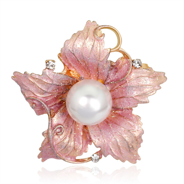 Lovely Cute Pink Enamel Fashion Dream Exquisite Coloured Drawing or Slick A Surname Flower Brooch Pin Jewelry Rhinestone Brooch