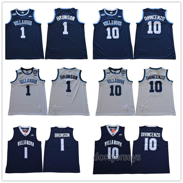 Mens Villanova Wildcats Jaylen Brunson College Basketball Jersey Donte DiVincenzo High Quality Stitched Jerseys Size S-2XL
