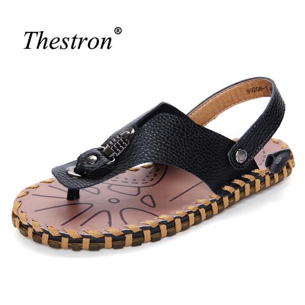 Hommes Sandales véritable d'été en cuir Tongs respirant pour Mans Slip-on Chaussures Homme