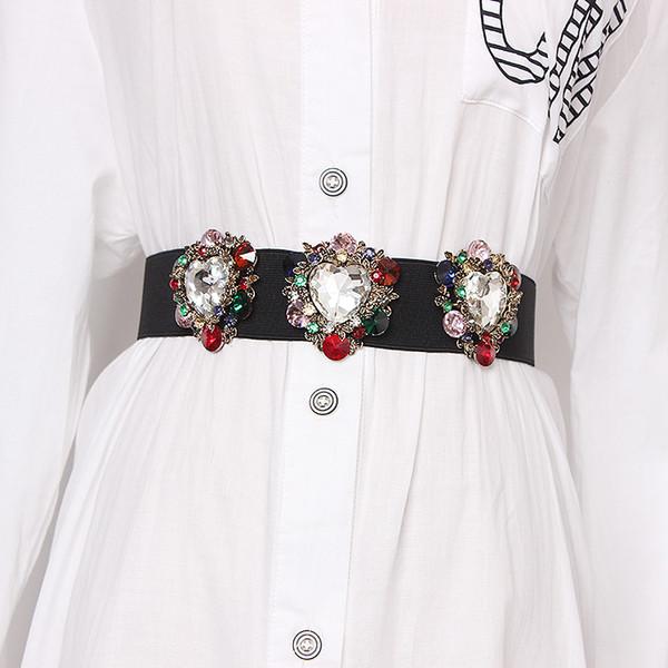 High End Çiçek Kristal Gem Kadınlar Bel Kemerleri Elastik Kemer Taklidi Korse Strechy Yaz Elbise Kemerleri Yeni